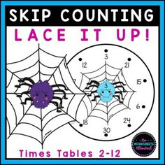 Practice and review skip counting/multiplication by 2-12. Your students will thread through the numbers, following the sequence in order, until they reach the 10th multiple. FUN hands-on learning for your math centers! Skip Counting Activities, Skip Counting By 2, Math Games, Learning Activities, Hands On Learning, Math Centers, 2 In, This Or That Questions