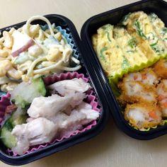 鶏肉とキュウリの梅肉の大根おろし和え/スパサラ/野菜とすり身の天ぷら 2014/06/11