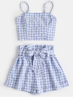 outfits with shorts Plaid Cami Top And Belted Shorts Set. This casual two-piece set covers a top and belted shorts. With plaid pattern throughout, this trendy top emphasizes an elas Cute Summer Outfits, Trendy Outfits, Cute Outfits, Fashion Outfits, Womens Fashion, Fashion Trends, Trendy Fashion, Two Piece Outfits Shorts, Shorts For Girls