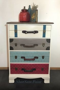 SharSum Paint -Client's Chest: drawers painted to look like suitcases - Missouri a Limestone Paint Company in a variety of colors