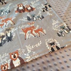 Woodland Animals Minky Blanket Baby Toddler Child or Adult Throw