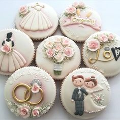 Wedding and Bridal Shower Cookies – Blush & Pine Creative Find some good ideas for bridal shower cookies and wedding cookies to use for your wedding. Some good options for fall weddings, spring weddings. Cute Cookies, Cupcake Cookies, Sugar Cookies, Fondant Cupcakes, Wedding Cake Cookies, Wedding Cupcakes, Decorated Wedding Cookies, Engagement Cupcakes, Bridal Shower Cupcakes