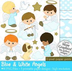 Angeles azules y blancos  Set de Clip Art y Papeles Digitales