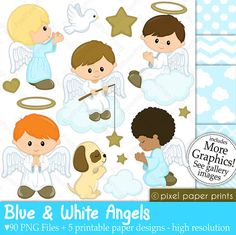 Blue and White Angels Digital paper and clip by pixelpaperprints