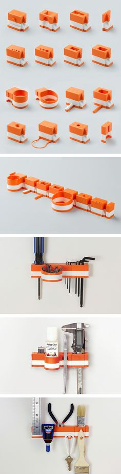 3D Printed Modular Hanging Tool Organizers by Matthijs Kok for Cubify