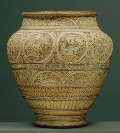 Vase, Coptic period (3rd–12th century), 8th century. Egypt. Ceramic; painted, unglazed.