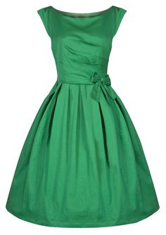 Green Vintage Dress with Bow