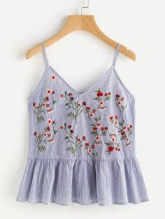Cute Cami Floral and Striped Regular Fit V Neck and Spaghetti Strap Blue Blossom Embroidered Ruffle Cami Top Cami Tops, Summer Outfits, Cute Outfits, Look Boho, Mein Style, Fashion Outfits, Womens Fashion, Fashion 2018, Diy Clothes