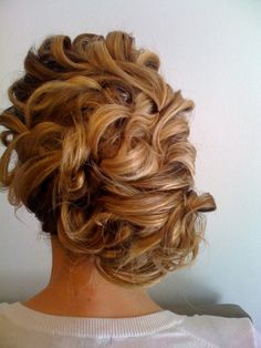 Curled updo.