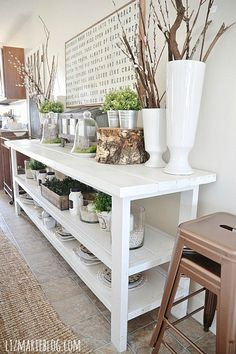 DIY White Buffet decorated for spring