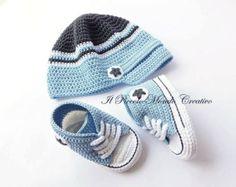 Complemento: de ganchillo bebé sombrero y por PiccoloMondoCreativo