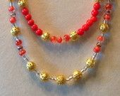 "Fall Collection 2015---Orange beading with Gold accents in a  22"" necklace"