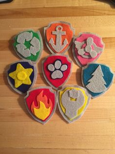 Set of 8 Felt Paw Patrol Pup Tags~Paw Patrol Costume~Paw Patrol Chase Rocky Rubble Zuma Skye Ryder Everest by SmoochieMamas on Etsy https://www.etsy.com/listing/276836644/set-of-8-felt-paw-patrol-pup-tagspaw