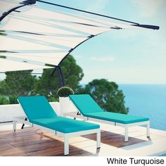Modway Shore Set of 2 Outdoor Patio Aluminum Chaise with Cushions (White Turquoise), Beige Off-White, Patio Furniture