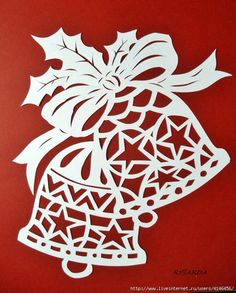 Decoration of windows on Christmas and New Year. And stencils. - Club New Year's Ideas and Prepare sleighs in summer. Christmas Stencils, Christmas Paper Crafts, Christmas Bells, Christmas Art, Christmas Projects, Christmas Decorations, Christmas Ornaments, Kirigami, Silhouette Cameo