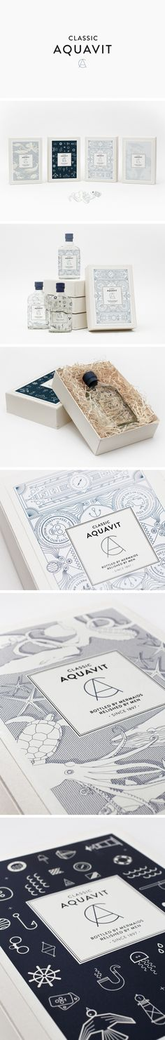 Classic Aquavit. Bottled by mermaids, relished by men. #Packaging #Bottle #Design