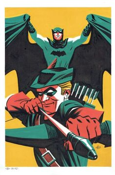 """Batman and Green Arrow painting, in gouache and ink:"" Comic Book Artists, Comic Artist, Comic Books Art, Dc Comics, Batman Comics, Im Batman, Batman Art, Comic Book Characters, Comic Character"