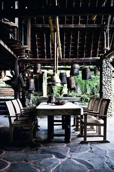 Amazing tropical home in Bali built in the forest. Rustic Luxe, Rustic Style, Outdoor Rooms, Outdoor Living, Tropical Interior, Outdoor Restaurant, Tropical Style, Tropical Houses, My Dream Home
