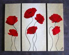 """TABLEAU PEINTURE triptyque moderne coquelicots fleurs Fleurs Acrylique - Triptyque """"COQUELICOTS"""""""