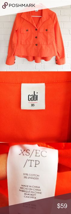 Cabi 5098 Tiger Lily Resort Jacket cotton spandex Make an offer! No trades. Retails for 119. Excellent condition, no flaws. Bundle and save - I'm a fast shipper! CAbi Jackets & Coats