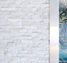 Love this idea for my master bedroom White Quartz Rock Panel - natural stacked stone veneer for wall cladding (fireplace) Stone Cladding, Wall Cladding, Fireplace Wall, Fireplace Design, Fireplace Ideas, Rock Panel, Stacked Stone Panels, Stone Veneer Panels, Quartz Rock