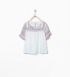 Blouse with printed yoke-Shirts & Blouses-Girl (3-14 years)-KIDS   ZARA United States