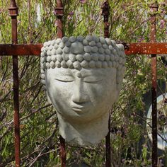 The Designer Stone Buddha Head Wall Planter provides a sense of Zen for your garden. The planter's expression provides a relaxed state of mind for. Wall Mounted Planters, Head Planters, Hanging Planters, Garden Planters, Outdoor Planters, Buddha Head, Lush Garden, Outdoor Walls, Garden Sculpture