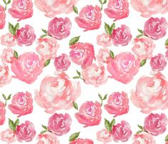 Pink Watercolor Floral Girl Nursery Wallpaper - Watercolor Floral By Laurapol -Custom Removable Self Adhesive Wallpaper Roll by Spoonflower Flower Wallpaper, Wallpaper Backgrounds, Iphone Wallpaper, Fabric Wallpaper, Trendy Wallpaper, Spoonflower Fabric, Pink Peonies, Pink Roses, Mellow Yellow