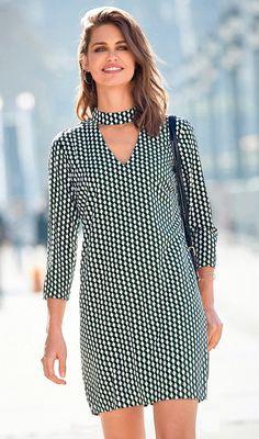 Robe courte manches 3/4 imprimée femme Exclusivité 3SUISSES - Imprimé Vert
