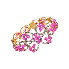 Abhaas Pink Spring Bloom Bracelet ($5,520) ❤ liked on Polyvore featuring jewelry, bracelets, accessories, pink, pink jewelry, 18k bangle, 18 karat gold jewelry, pink bangles and floral jewelry
