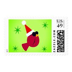 Fun Cool Cardinal Christmas Postage Stamps #christmas #postage #stamps