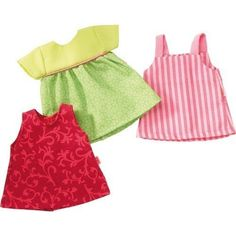 """Show off in the sun with the Summer Dresses Dress Set for the HABA Doll Collection! The perfect fit for any 12"""" or 13 3/4"""" HABA Doll, the Summer Dresses set comes with three dresses: one sleeveless red dress, one short-sleeved green dress, and one pink striped... more details available at https://perfect-gifts.bestselleroutlets.com/gifts-for-holidays/toys-games/product-review-for-haba-summer-dresses-set-for-12-to-14-dolls/"""
