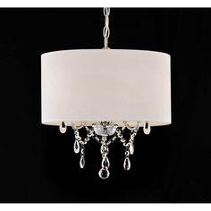 Master Bedroom Light Fixture Option | Indoor 3-light White/ Chrome Pendant Chandelier