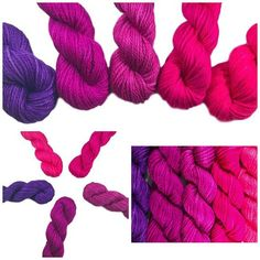 Hand Dyed Yarn Kit - Pink & Purple Gradient - Bamboo Cotton - DK Light Worsted - 3 Ply Semi Solids - Deep Purple, Pink Purple, Hot Pink, Magenta, Handmade Baby Blankets, Knit Or Crochet, Hand Dyed Yarn, Dark Colors, Light In The Dark