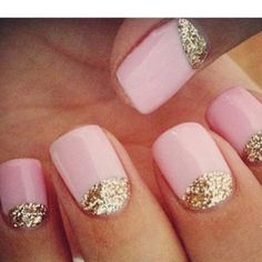 clean pink + gold mani