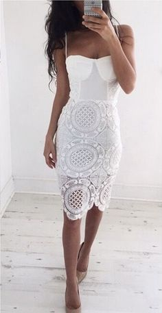 White Plain Hollow-out Condole Belt Skinny Lace Dress