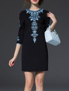 Embroidery Cotton-blend Mini Dress