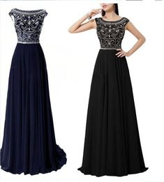 Dramatic Vintage Cap Sleeves Navy Blue Long Prom Dresses With Flowing Chiffon Skirt Custom Made Black V Back Evening Prom Dress Gown