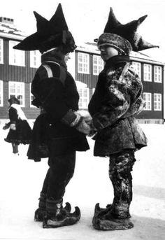 Karasjok costumes. Sami Schoolboys that Karasjok school in March 1958