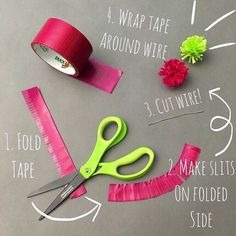 How to make a duct tape dandelion using Duck Tape Transparent Tints®. http://www.duckbrand.com/products/duck-tape/colors/transparent-tints/transparent-fuchsia-188-in-x-10-yd?utm_campaign=tints-general&utm_medium=social&utm_source=pinterest.com&utm_content=duck-tape-transparent-tints
