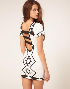 Reverse   Reverse Open Back Dress With Geo Print Necklace at ASOS