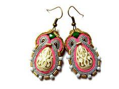 Izabela - elegant, impressive soutache earrings, long, eye-catching, colorful and bright