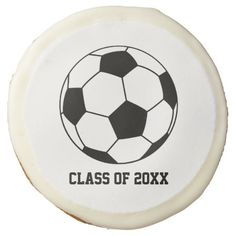 Soccer Sport Ball Player Fan Player Graduation Sugar Cookie This custom designed unique black and white soccer 2015 2016 graduation product features soccer ball with a white background and is great for someone who is an avid soccer player, fan or was on the team at school. Use for high school, university or college graduation. Matching products available in my shop.