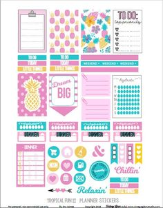 Free Printable Tropical Fun 2 Planner Stickers {page two} from Vintage Glam Studio To Do Planner, Free Planner, Planner Layout, Planner Pages, Happy Planner, Planner Ideas, Planner Diy, Freebies, Printable Planner Stickers
