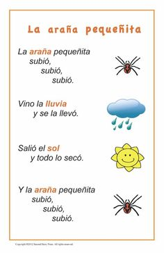 Spanish Songs and Rhymes - Italian, French and Spanish Language Teaching Posters Spanish Lessons For Kids, Learning Spanish For Kids, Spanish Basics, Spanish Activities, Learning Italian, Teaching Spanish, Spanish Club Ideas, Poetry Activities, Spanish Worksheets