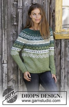 Knitted sweater with round yoke in DROPS Air. The piece is worked top down with Nordic pattern. Sizes S - XXXL. pullover 2018 Bardu / DROPS - Free knitting patterns by DROPS Design Knitting Patterns Free, Knit Patterns, Free Knitting, Knitting Ideas, Free Pattern, Drops Design, Crochet Cardigan, Knit Crochet, Crochet Slippers