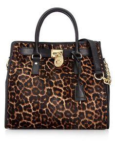 MICHAEL Michael Kors Handbag, Hamilton Leopard Haircalf Large North South Tote-YUM!