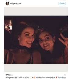 Margaret Clunie and Jenna Coleman at the Dior Cruise Show 2016 afterparty at Loulou's, London. From Margaret's Instagram account, June 1, 2016.