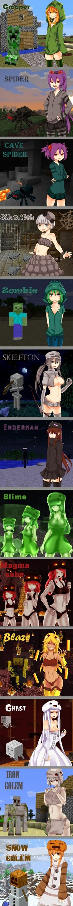Minecraft - Why are some of these creatures, redrawn into anime girls, so…