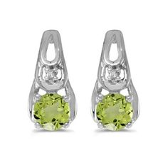 Mia Diamonds 14k White Gold 7x5mm Oval Peridot Leverback Earrings